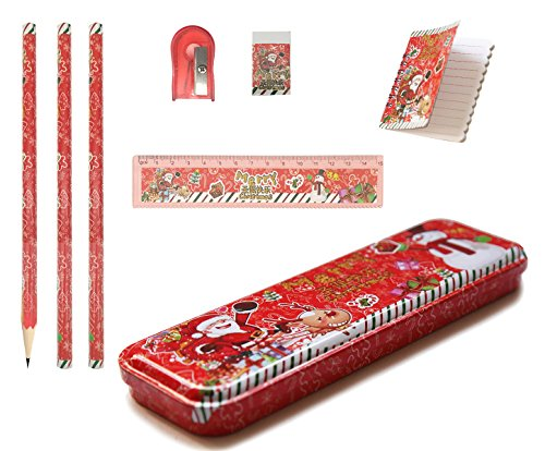 MICKYU Christmas Pencil Set, Including Pencil, Pencil-box,Ruler,Sharpener,Eraser,Notebook, Great Birthday Gift Present for - Year Christmas Presents 70 Old