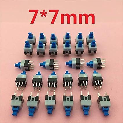 Amazon.com: 30pcs/lot Square 7x7x12mm 6 Pin DPDT Mini Push ...