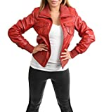 Ladies Bomber Real Leather Jacket Short Slim Fit Casual Blouson Motto Red (Medium)