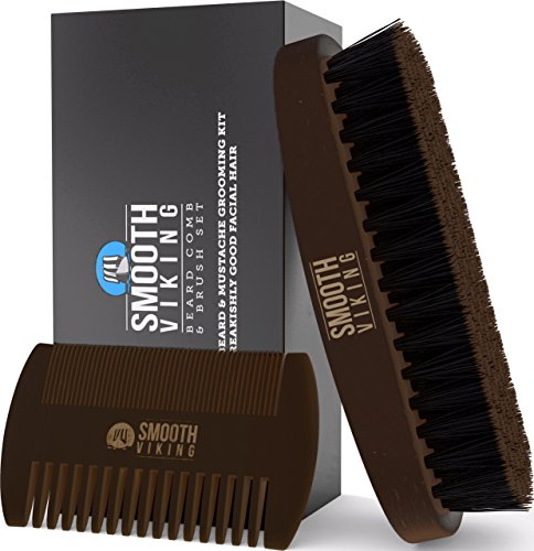 Beard & Mustache Brush and Comb Kit - Boar Bristle Beard Brush & Wooden Grooming Comb - Facial Hair Care Gift Set for Men - Distributes Products & Wax for Styling, Growth & Maintenance - Smooth Viking from Smooth Viking Beard Care