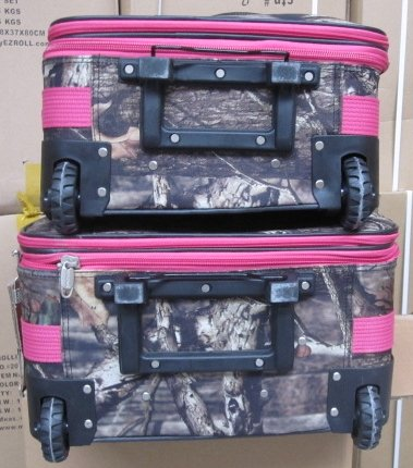 Explorer Hunting Luggage Travel Bag Mossy Oak -Realtree Outdoor Like- Hunting Camo Heavy Duty Rolling Duffel Bag with Pulling Handle Wheels with Adjustable Removable (MossyoakPinkL090-3) by Explorer products (Image #2)