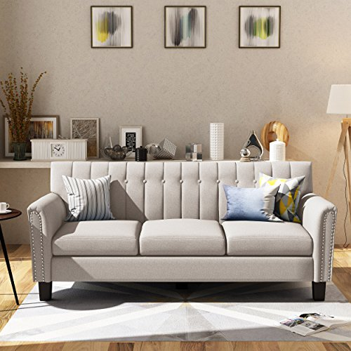 Great Deal Furniture 303967 Jasmine Traditional Wheat Fabric 3 Seater Sofa, Dark Brown