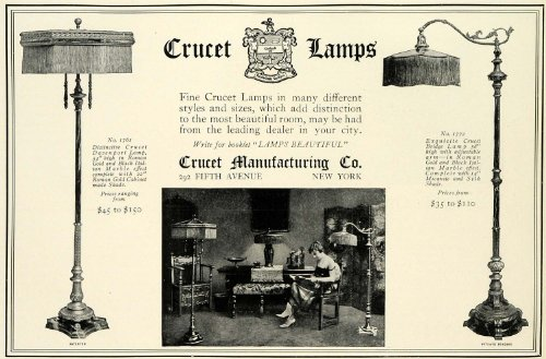 1922 Ad Crucet Lamps Mfg Co No. 1761 Davenport Lighting Roman Gold Shade No.1772 - Original Print Ad from PeriodPaper LLC-Collectible Original Print Archive