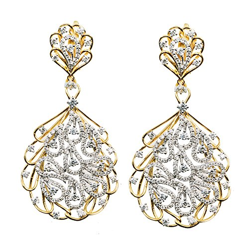 D'sire 18k Yellow and White Gold Diamond Dangling Dangle Earrings Jewelry for Women TDW 3.144 carats