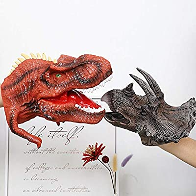 Dinosaur Hand Puppets, Soft Rubber Animal Head Toys,Realistic Triceratops Head Role Play Toy for Kids: Health & Personal Care