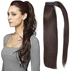 "18"" Straight Ponytail Hair Extension Human Hair Wrap Ponytail Hairpiece 100g Dark Brown 2#"