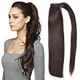 "BEAUTY PLUS 18"" Straight Ponytail Hair Extension Human Hair Wrap Ponytail Hairpiece 100g"