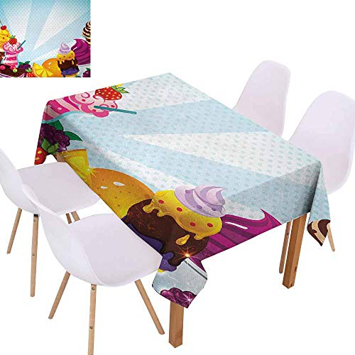 (UHOO2018 Ice Cream,Rectangle Tablecloth,Yummy Menu with Chocolate Raspberry Cherry Orange and Strawberry Flavors Image,for Kitchen Dinning Decoration,Multicolor,70