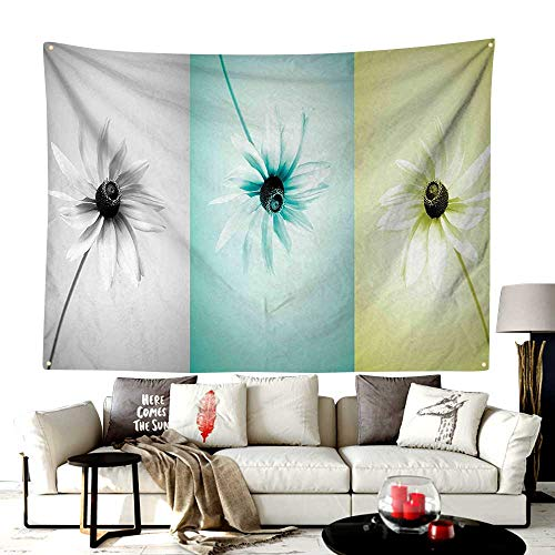 UNOSEKS-Home Custom Mode Tapestry Table Runners,Daisy Flowers in Different Featured Framed Saturated Artsy Image,Versatile Use As A Tablecloth,Sofa Cover,93W X 71L Inches Turquoise Grey Avocado Green ()