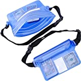 3Cworld Universal Waterproof Dry Bag Pouch with Waist Strap for Beach/Pool/Water Park/Boating/Sailing/Swimming/Fishing/Hiking - Protects Phones, Cameras, Watchs, Mp3, Cash, Documents From Water, Sand, Dust and Dirt (Clear/Blue)