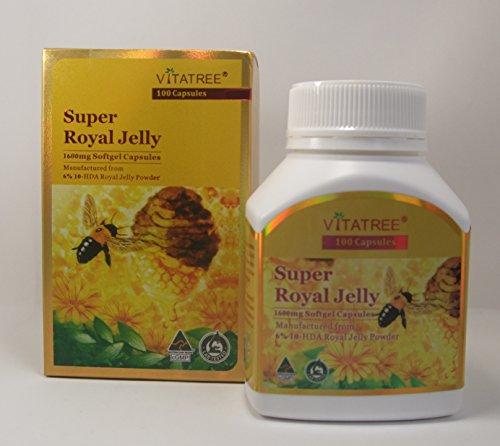 VitaTree Super Royal Jelly 1600mg 6% 10-HDA 100 Softgel Capsules Australian (Royal Jelly Fertility)