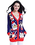 v28 Christmas Sweater Cardigan, Ugly Women Knit White Red Santa Xmas Sweater