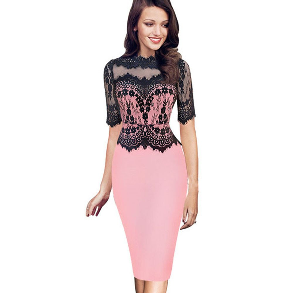 iLUGU O-Neck Half Sleeve Knee-Length Dress for Women Lace Top Pencil Dress Overall Dress Pink