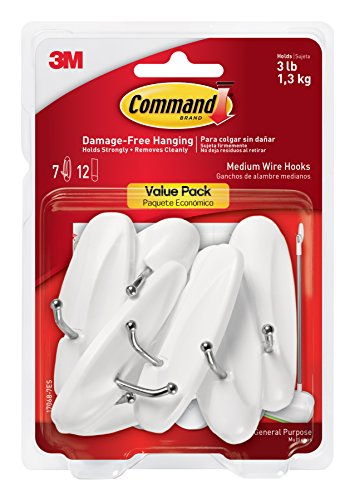 Command Wire Hooks Value Pack, Medium, White, 7-Hooks ()