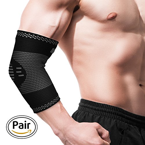 Elbow Brace - Elbow Sleeve - Compression Arm Support for Tendonitis - Arthritis - Best for Tennis Elbow - Golf - Weightlifting - Women - Men - Kids -Pair
