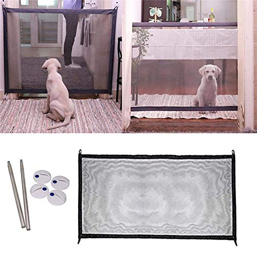 Tezam Dog Mesh Gates for Doorways - Portable Folding Magic Mesh Gate Safe Guard for Dogs Indoor and Outdoor