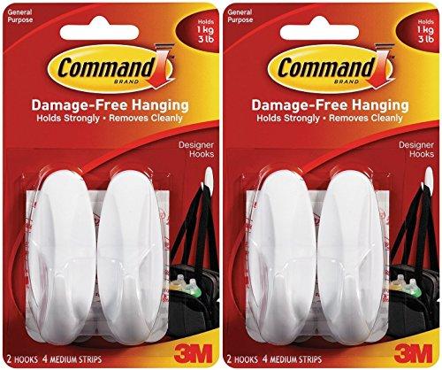 Command Designer Hooks BP1PTF, Medium, White, 4-Hooks by Command