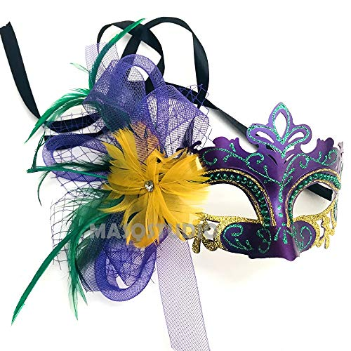 - MASQSTUDIO Couple Masquerade Mask Pair Veil Feather Mardi Gras Carnival Parade Event Wear (Feather mask Only)
