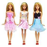 zheyistep 30 Pcs Fashion Casual Handmade Doll Clothes Sets and Accessories for 11.5 Inch Dolls Includes 10 Doll Clothes Dress+4 Glasses+6 Plastic Necklaces+10 Pairs Shoes (Doll Clothes Pack B)