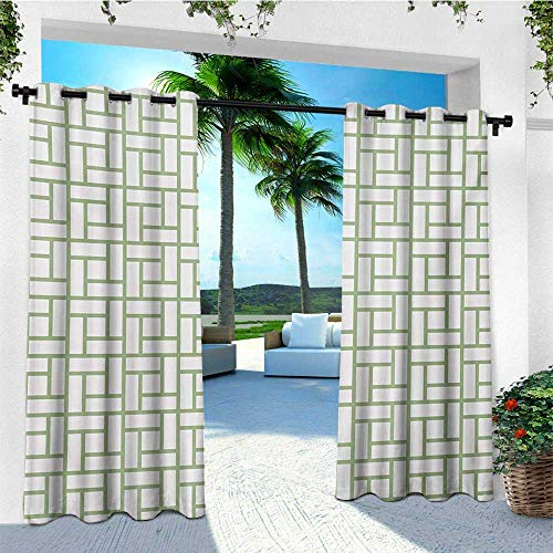 leinuoyi Green, Outdoor Curtain Set of 2 Panels, Maze Shaped Squares Rectangulars Geometrical Lines Modern Image Print, for Balcony W120 x L96 Inch Pistachio Green and White ()