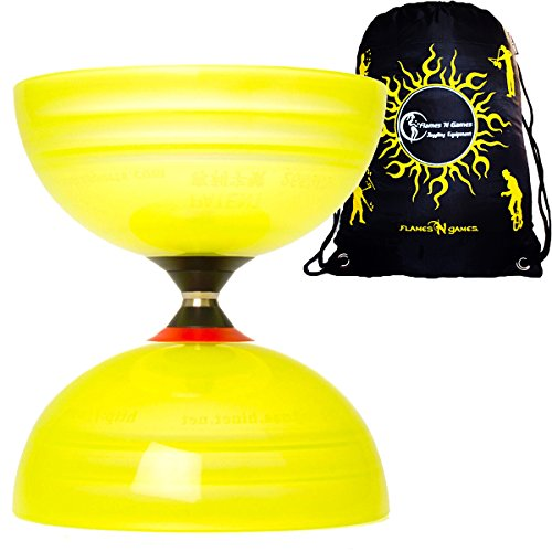 Sundia Shining Series Trtiple Bearing Diabolo + Travel Bag! Wide Clutch Triple Bearing Axle Spinning Diablo for Intermediate and Experts!No handsticks included (Yellow) by Sundia / Flames N Games (Image #1)