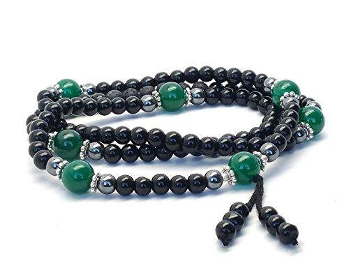 Buddhist Prayer Beads/Tibetan Mala Necklace/Healing Stone Bracelet/Men, Women Green Aventurine Hematite Black Onyx and Crystal Lava Rock Jewelry for Meditation