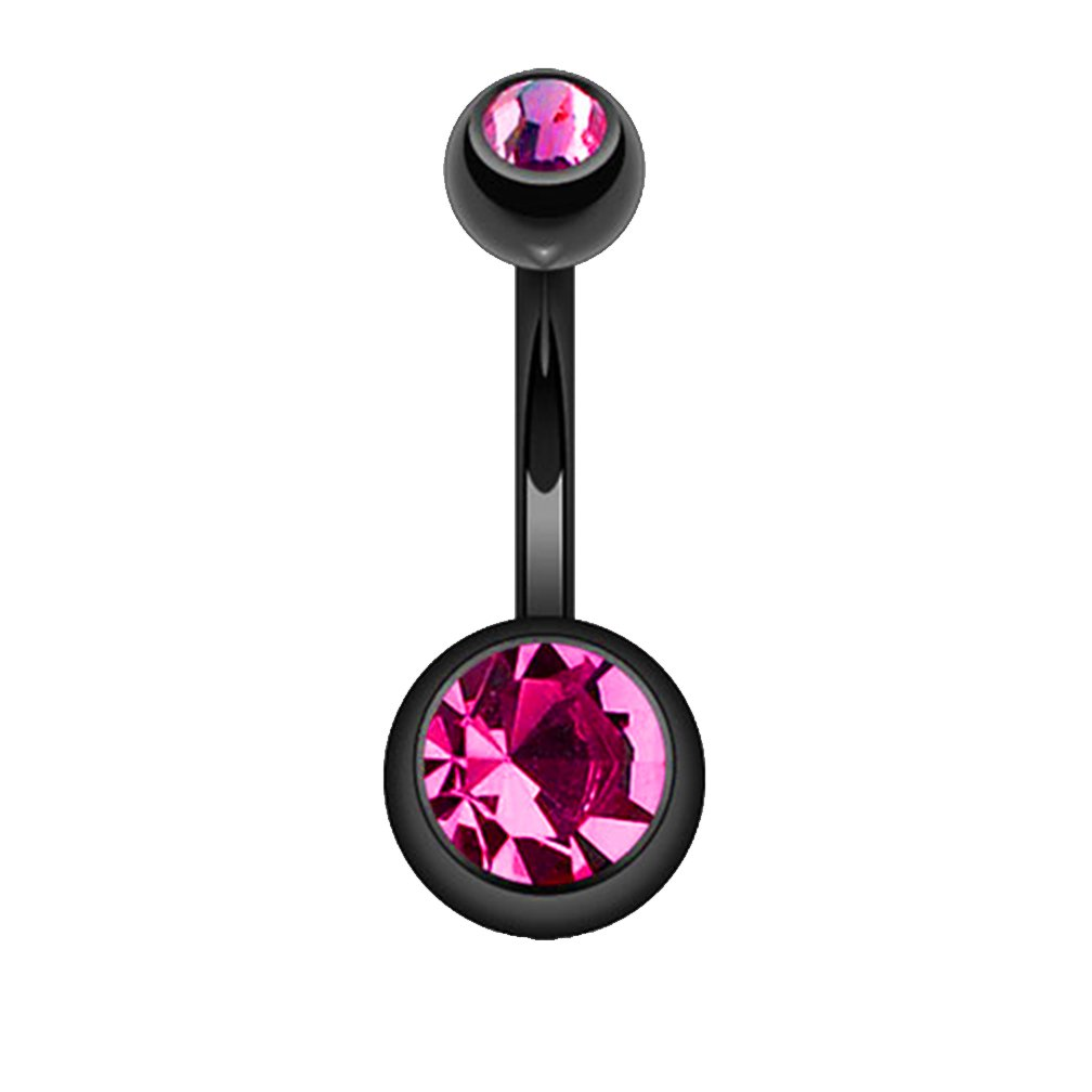 Fifth Cue 14G Black Titanium IP 316L Double CZ Barbell Belly Ring - (Choose Color) FifthCue JQNT04all