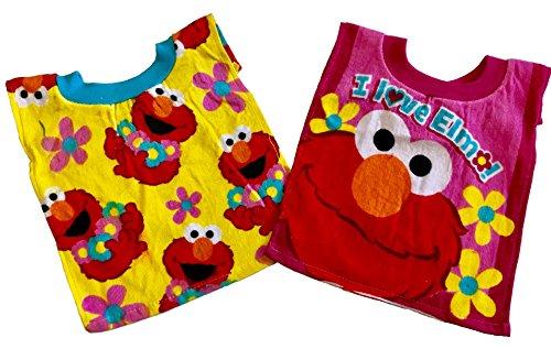 Sesame Street Terry Bib - Sesame Street Elmo Baby Bibs- 2 Piece Pack (Yellow/Red)
