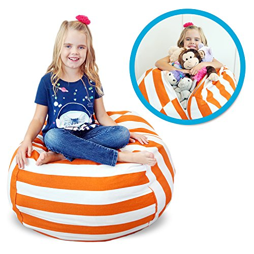 Soothing Company Stuffed Animal Bean Bag Chair for kids - Extra Large Empty Beanbag - Kid Toy Storage Covers for Your Child's Stuffed Animals and Blankets | Premium Cotton Canvas (38