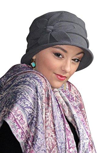 Fleece Flower Cloche Hat for Women Cancer Headwear Chemo Ladies Head Coverings (Chemo Hats Women)