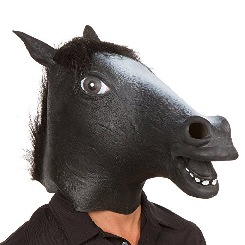 AKORD? RUBBER HORSE HEAD MASK PANTO FANCY DRESS PARTY COSPLAY HALLOWEEN ADULT COSTUME (Black) by