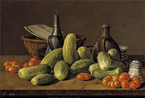 Polyster Canvas ,the Vivid Art Decorative Prints On Canvas Of Oil Painting 'Melendez Luis Egidio Bodegon Pepinos Tomates Y Recipientes 1774 ', 20 X 30 Inch / 51 X 75 Cm Is Best For Nursery Decoration And Home Decoration And Gifts