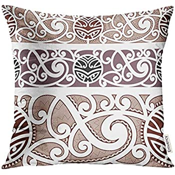 db88c0a55c6c8 Golee Throw Pillow Cover Brown Tattoo Maori Styled Polynesian Tribal  Decorative Pillow Case Home Decor Square 20x20 Inches Pillowcase