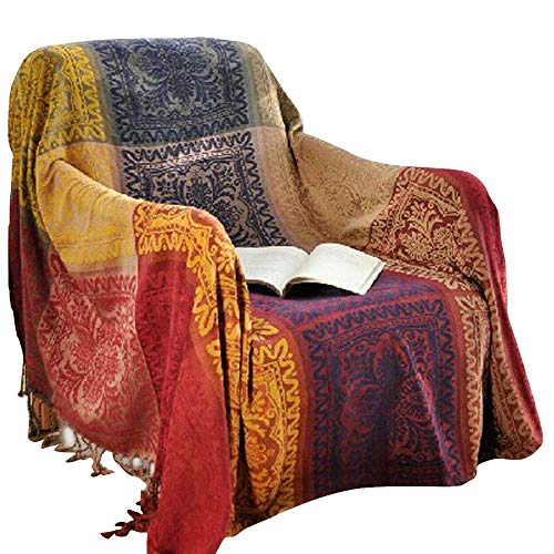 amorus Chenille Jacquard Tassels Throw Blankets for Bed Couch Decorative Soft Chair Cover - Colorful Tribal Pattern (L)