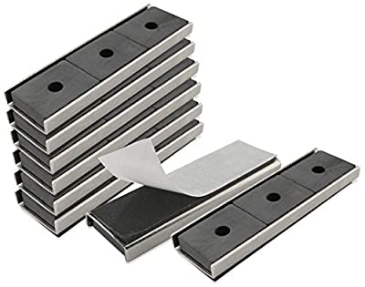 """Master Magnetics CA293WAX8 Magnet Fastener, Rectangular with Double-Sided Foam Adhesive Nickel Plated, 3"""" Length, 0.878"""" Width, 0.250"""" Height, 22 Pounds (Pack of 8)"""