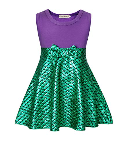 Little Mermaid Dress Toddler (HenzWorld Little Mermaid Dresses Ariel Costumes Birthday Halloween Party Toddlers Girls Playwear Beach Casual Outfit 1-2)