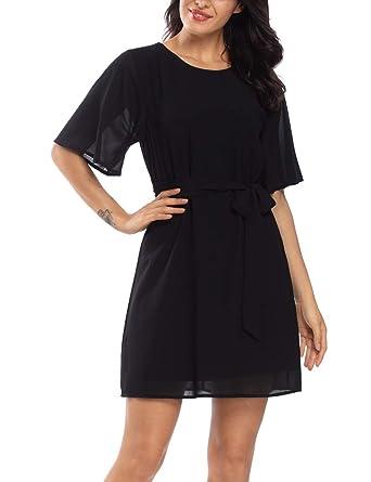 f5a3845490fa Wudodo Black Dress for Women Casual Short Sleeve Empire Waist Summer Chiffon  Evening Dresses at Amazon Women's Clothing store:
