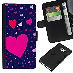 EJOY---La carpeta del tirón la caja de cuero de alta calidad de la PU Caso protector / Samsung Galaxy S6 EDGE / --Modelo rosado rojo de San Valentín azul
