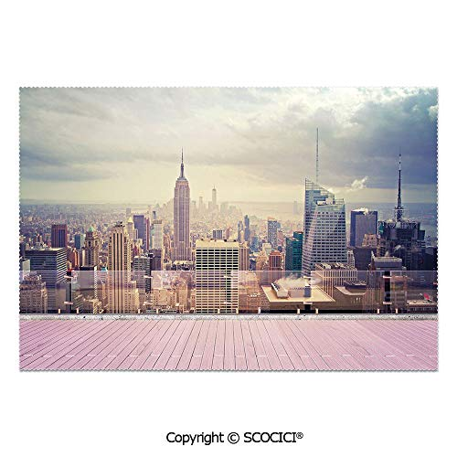 SCOCICI Set of 6 Printed Dinner Placemats Washable Fabric Placemats New York City USA Landscape from Roof Apartment Balcony Photo Image for Dining Room Kitchen Table -
