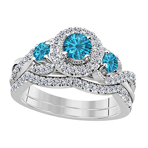 14K Gold Plated Blue Topaz & White Cubic Zirconia Ladies 3 Stone Halo Bridal Engagement Ring with Matching Band Set