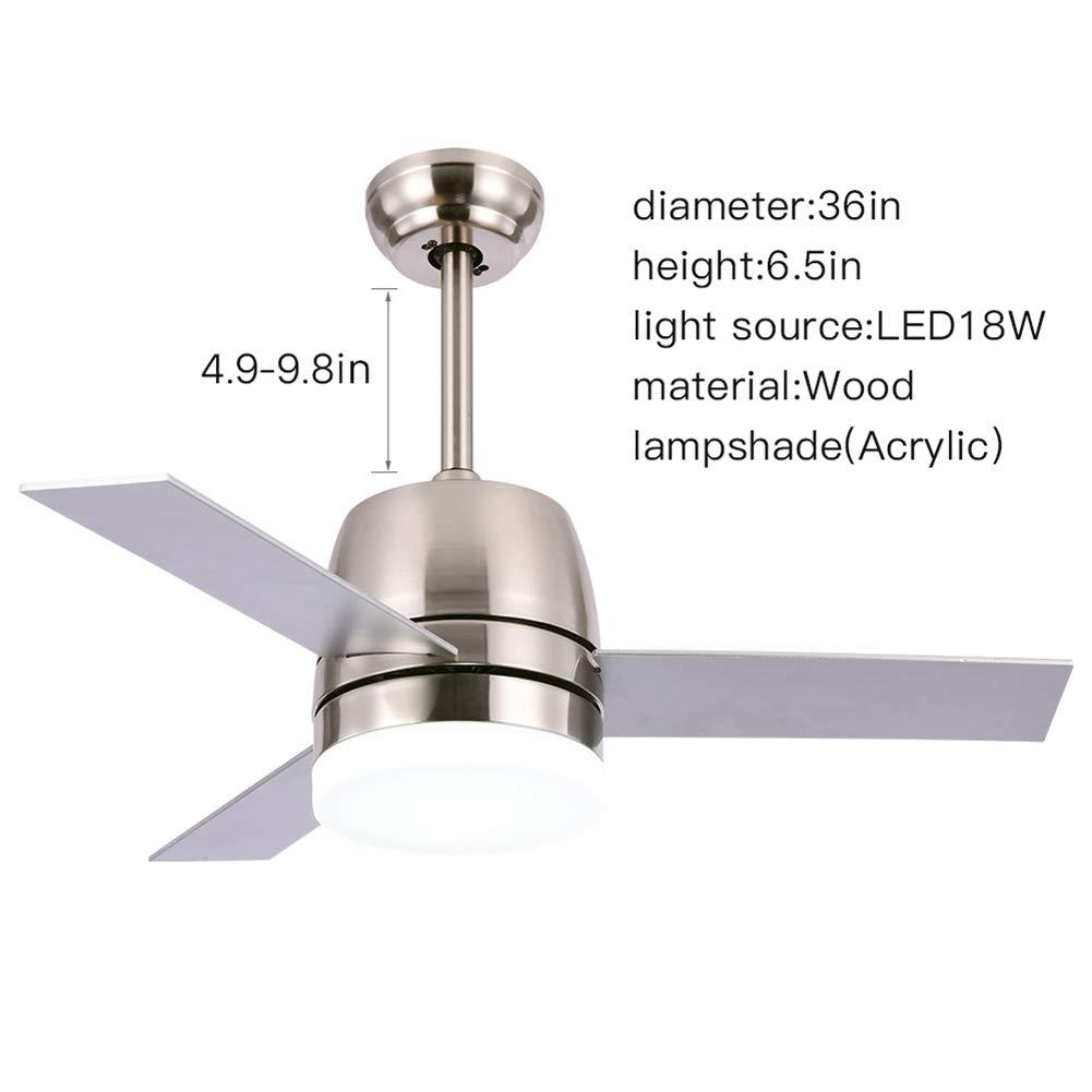 OCSEVE 36-in Ceiling Fan with Light, Flush Mount Brushed Nickel Fan ...