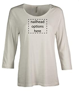 product image for Akwa Made in USA Women's Bamboo Jersey 3/4 Sleeve Tee with Nailhead Accents