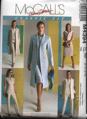 McCall's Sewing Pattern 4394 Misses Size 18-24 Wardrobe Classic Lined Jacket Coat Top Dress Pants by McCall's McCall's