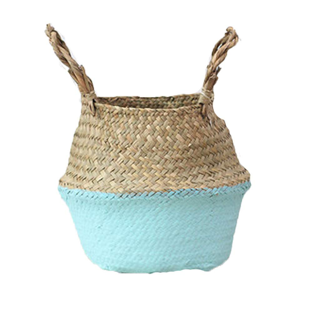 Glumes Natural Woven Seagrass Tote Belly Basket for Storage, Laundry, Picnic, Plant Pot Cover, and Beach Bag