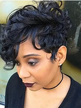 RUISENNA Short Curly Wavy Wigs for Black Women With Side Fashion Bangs  Synthetic Hair Black Full...