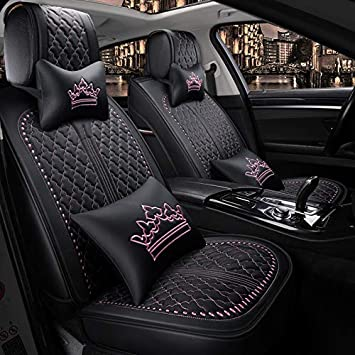 OUTOS Luxury Auto Car Seat Covers 5 Seats Full Set Universal Fit Luxurious Black-Beige