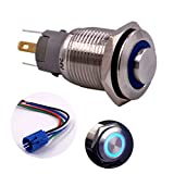 Momentary Push Button Switch, URTONE UR168, 1NO1NC Stainless Steel Shell with 24V Blue LED Ring Suitable for 16mm 5/8