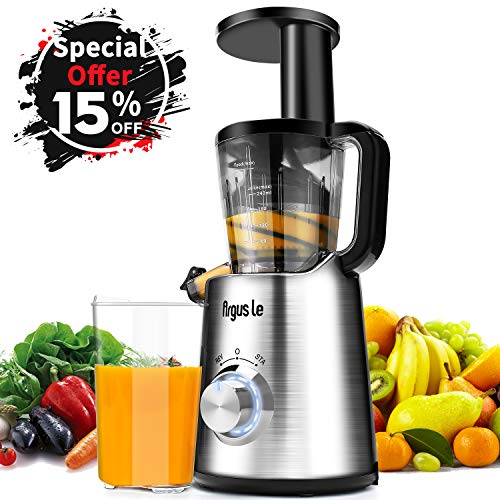 Argus Le Slow Juicer, Compact Design Masticating Juicer, High Nutrient Cold Press Juicer ¡­ (Sliver)