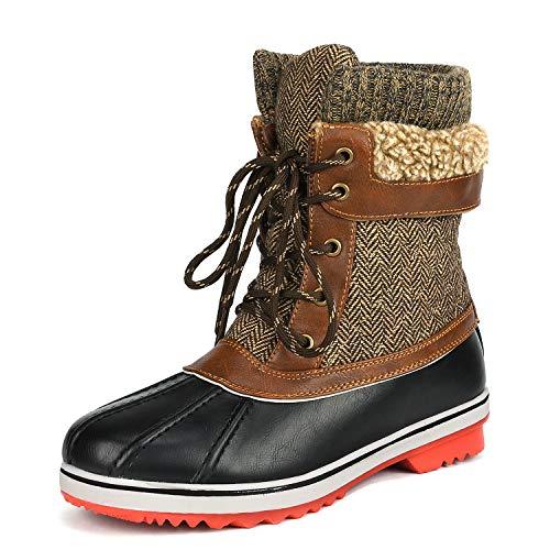 DREAM PAIRS Women's Monte_01 Brown Mid Calf Winter Snow Boot