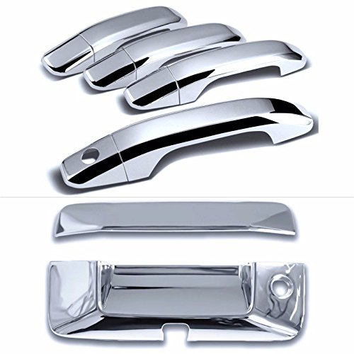 Cadillac Double Handle (Cobra-Tek 2015-2016 Chevy Canyon Colorado 2014-2016 Chevy Silverado GMC Sierra Chrome Door Handle Cover 4D (No Passenger Keyhole) & Tailgate Handle Cover (w/Keyhole w/Camera Cutout) Combo Kit)